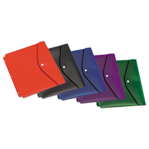 Dual Pocket Snap Envelope, 11 X 8 1/2, Assorted Colors, 5/pack