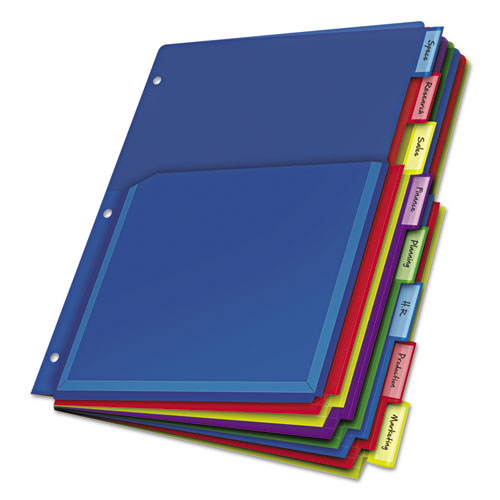 EXPANDING POCKET INDEX DIVIDERS, 8-TAB, 11 X 8.5, ASSORTED, 1 SET/PACK