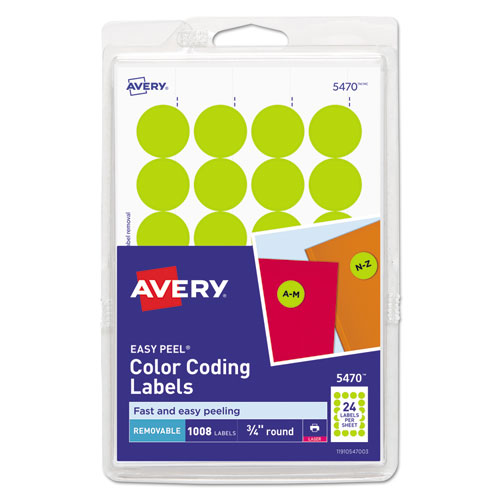 PRINTABLE SELF-ADHESIVE REMOVABLE COLOR-CODING LABELS, 0.75