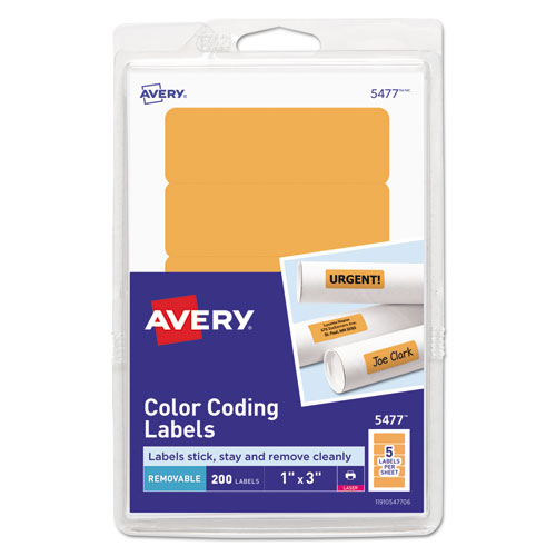 PRINTABLE SELF-ADHESIVE REMOVABLE COLOR-CODING LABELS, 1 X 3, NEON ORANGE, 5/SHEET, 40 SHEETS/PACK