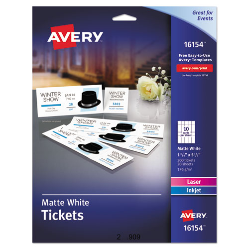 PRINTABLE TICKETS W/TEAR-AWAY STUBS, 97 BRIGHT, 65LB, 8.5 X 11, WHITE, 10 TICKETS/SHEET, 20 SHEETS/PACK