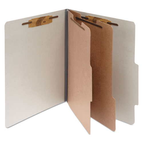 PRESSBOARD CLASSIFICATION FOLDERS, 2 DIVIDERS, LETTER SIZE, MIST GRAY, 10/BOX