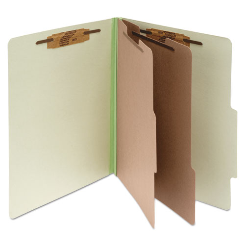 PRESSBOARD CLASSIFICATION FOLDERS, 2 DIVIDERS, LETTER SIZE, LEAF GREEN, 10/BOX