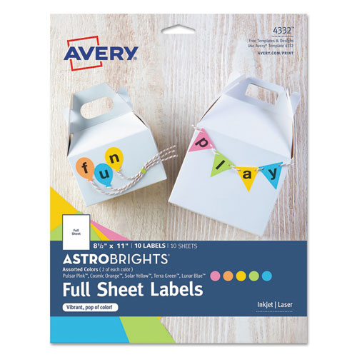 PRINTABLE COLOR LABELS, 8.5 X 11, ASSORTED COLORS, 10/PACK