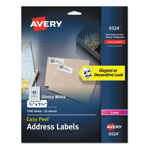 GLOSSY WHITE EASY PEEL MAILING LABELS W/ SURE FEED TECHNOLOGY, LASER PRINTERS, 0.66 X 1.75, WHITE, 60/SHEET, 25 SHEETS/PACK