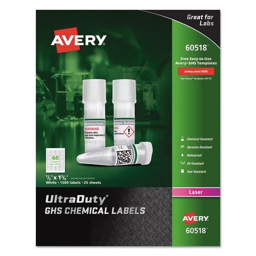 ULTRADUTY GHS CHEMICAL WATERPROOF AND UV RESISTANT LABELS, 0.5 X 1.75, WHITE, 60/SHEET, 25 SHEETS/PACK