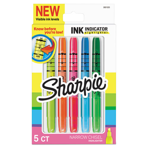 INK INDICATOR STICK HIGHLIGHTERS, CHISEL TIP, ASSORTED COLORS, 5/PACK