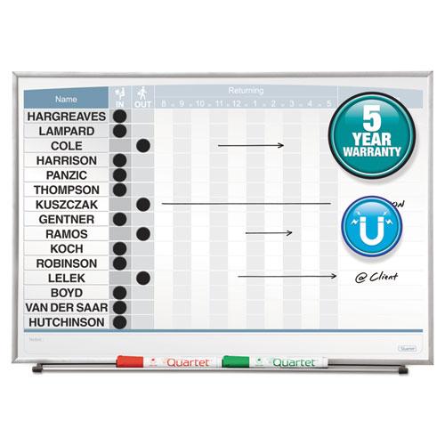 Horizontal Matrix Employee Tracking Board, 23 X 16, Aluminum Frame
