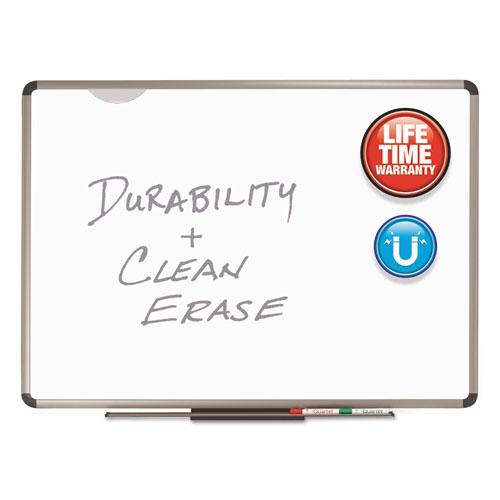 Euro Frame Premium Porcelain Whiteboard, 72 X 48, Euro Titanium Aluminum Frame