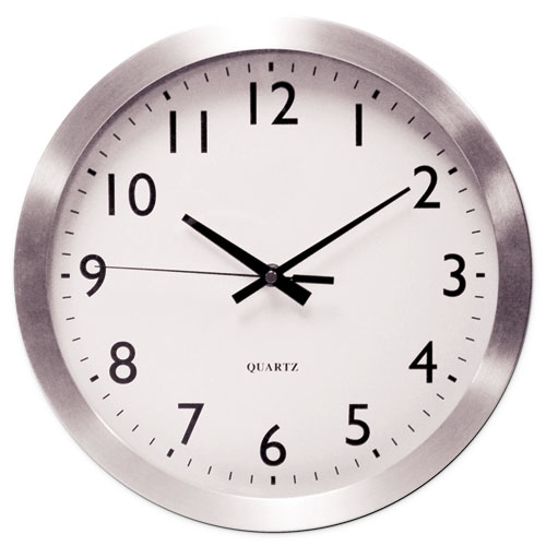 Image for BRUSHED ALUMINUM WALL CLOCK, 12' OVERALL DIAMETER, SILVER CASE, 1 AA (SOLD SEPARATELY)