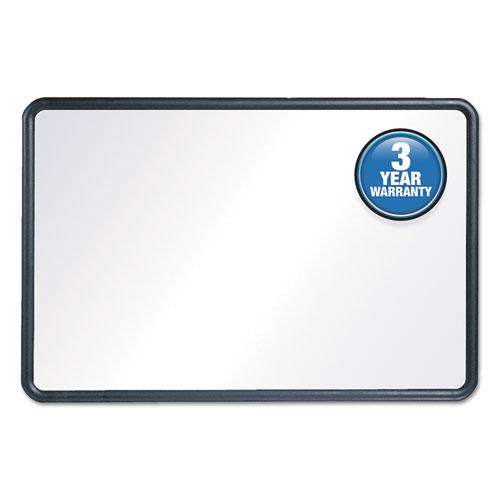 Contour Dry-Erase Board, Melamine, 24 X 18, White Surface, Black Frame