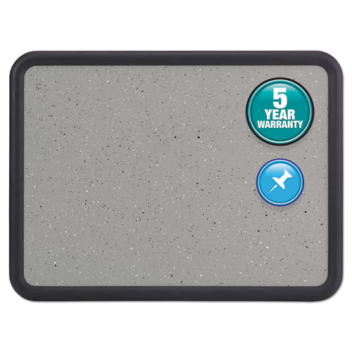 Contour Granite Gray Tack Board, 36 X 24, Black Frame