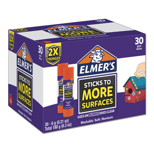 EXTRA-STRENGTH SCHOOL GLUE STICKS, 0.21 OZ, DRIES CLEAR, 30/PACK