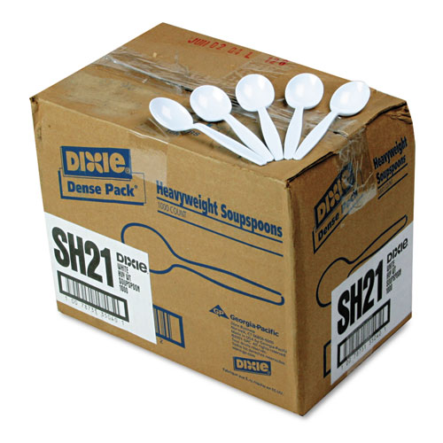 PLASTIC CUTLERY, HEAVYWEIGHT SOUP SPOONS, WHITE, 1,000/CARTON