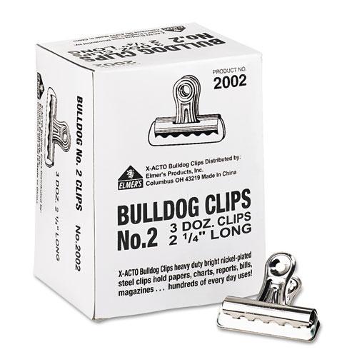 BULLDOG CLIPS, MEDIUM, NICKEL-PLATED, 36/BOX