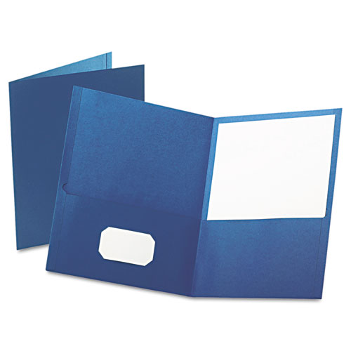Twin-Pocket Folder, Embossed Leather Grain Paper, Blue, 25/box