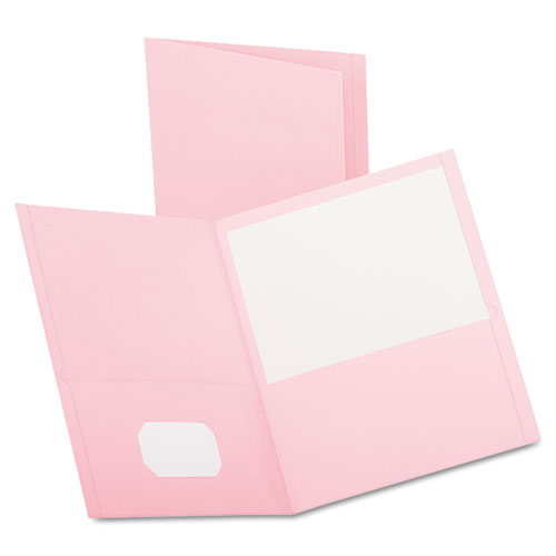 Twin-Pocket Folder, Embossed Leather Grain Paper, Pink, 25/box