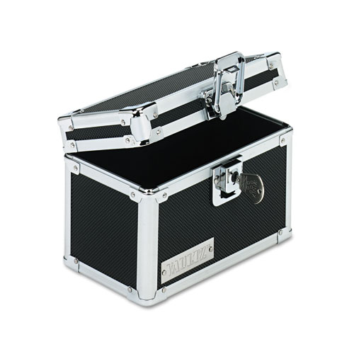 Vaultz Locking Index Card File With Flip Top Holds 350 3 X 5 Cards, Black