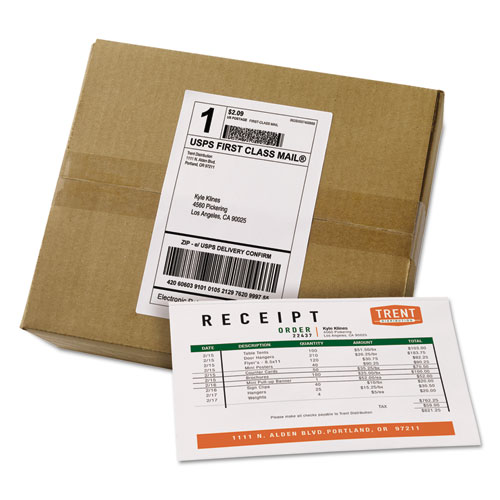 SHIPPING LABELS WITH PAPER RECEIPT BULK PACK, INKJET/LASER PRINTERS, 5.06 X 7.63, WHITE, 100/BOX