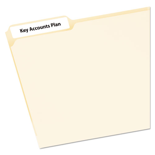 MINI-SHEETS PERMANENT FILE FOLDER LABELS, 0.66 X 3.44, WHITE, 12/SHEET, 25 SHEETS/PACK