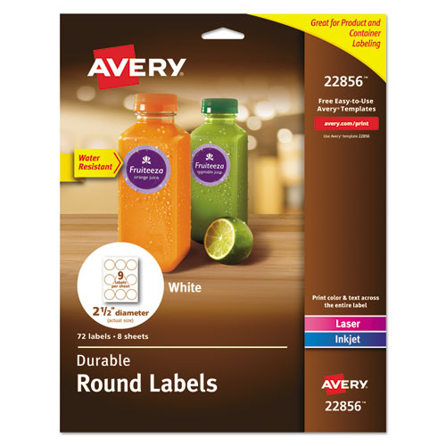DURABLE WHITE ID LABELS W/ SURE FEED, 2 1/2