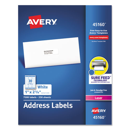 WHITE ADDRESS LABELS W/ SURE FEED TECHNOLOGY FOR LASER PRINTERS, LASER PRINTERS, 1 X 2.63, WHITE, 30/SHEET, 250 SHEETS/BOX
