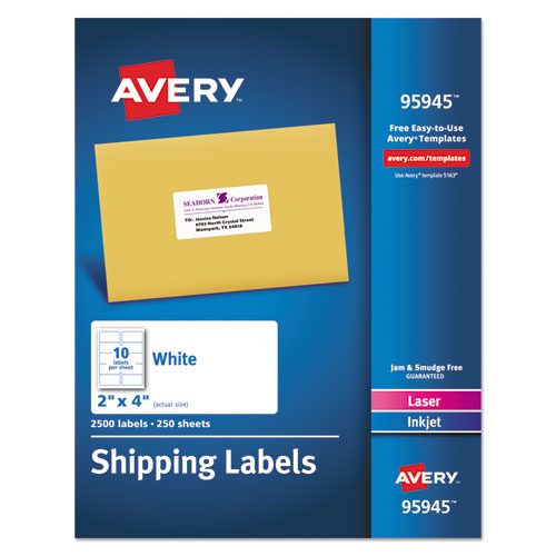 WHITE SHIPPING LABELS-BULK PACKS, INKJET/LASER PRINTERS, 2 X 4, WHITE, 10/SHEET, 250 SHEETS/BOX