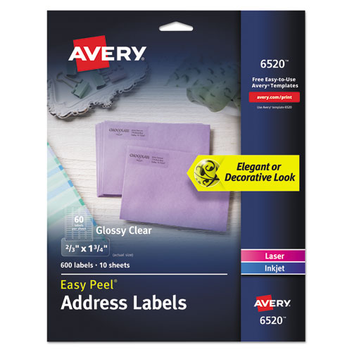 GLOSSY CLEAR EASY PEEL MAILING LABELS W/ SURE FEED TECHNOLOGY, INKJET/LASER PRINTERS, 0.66 X 1.75, 60/SHEET, 10 SHEETS/PK