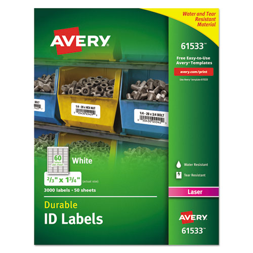 DURABLE PERMANENT ID LABELS WITH TRUEBLOCK TECHNOLOGY, LASER PRINTERS, 0.66 X 1.75, WHITE, 60/SHEET, 50 SHEETS/PACK