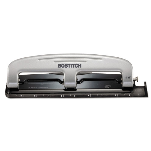 EZ SQUEEZE THREE-HOLE PUNCH, 12-SHEET CAPACITY, BLACK/SILVER