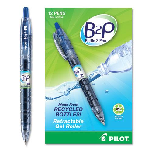 B2P BOTTLE-2-PEN RECYCLED RETRACTABLE GEL PEN, 0.7MM, BLUE INK, TRANSLUCENT BLUE BARREL