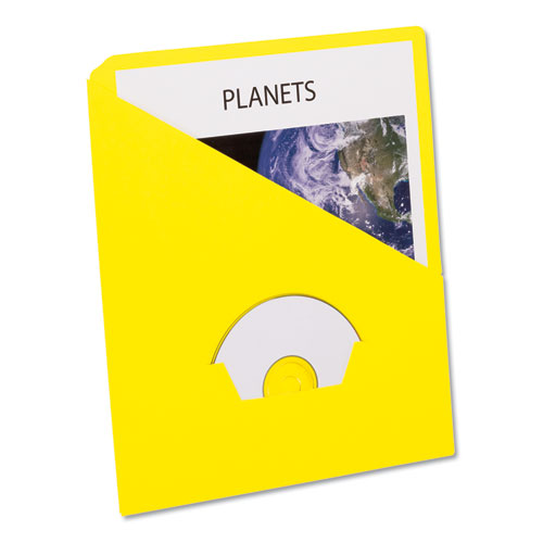 SLASH POCKET PROJECT FOLDERS, 3-HOLE PUNCHED, STRAIGHT TAB, LETTER SIZE, YELLOW, 25/PACK