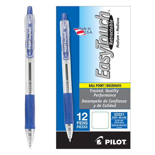 EASYTOUCH RETRACTABLE BALLPOINT PEN, MEDIUM 1MM, BLUE INK, CLEAR BARREL, DOZEN