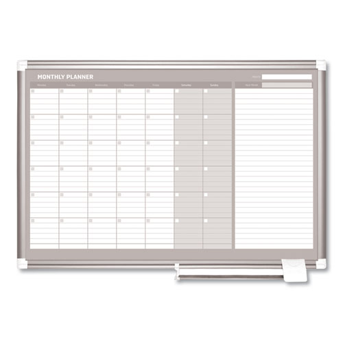 Monthly Planner, 36x24, Silver Frame