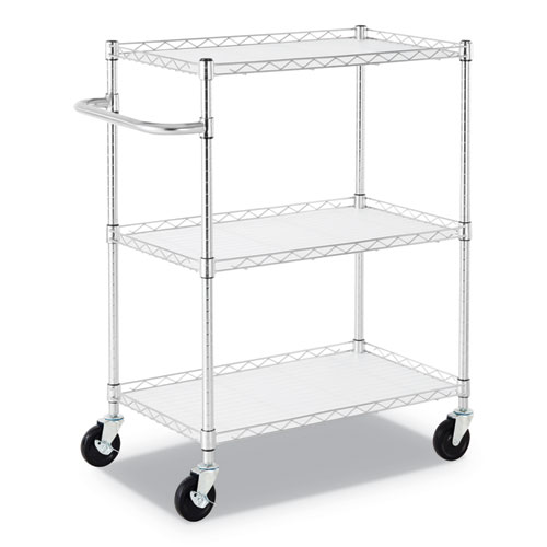Image for 3-SHELF WIRE CART WITH LINERS, 34.5W X 18D X 40H, SILVER, 600-LB CAPACITY