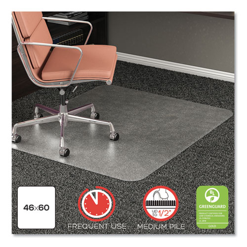ROLLAMAT FREQUENT USE CHAIR MAT, MEDIUM PILE CARPET, ROLL, 46 X 60, RECTANGLE, CLEAR