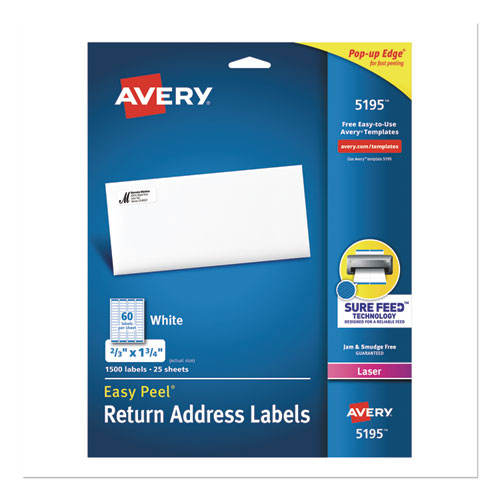 EASY PEEL WHITE ADDRESS LABELS W/ SURE FEED TECHNOLOGY, LASER PRINTERS, 0.66 X 1.75, WHITE, 60/SHEET, 25 SHEETS/PACK