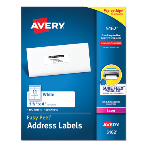 EASY PEEL WHITE ADDRESS LABELS W/ SURE FEED TECHNOLOGY, LASER PRINTERS, 1.33 X 4, WHITE, 14/SHEET, 100 SHEETS/BOX