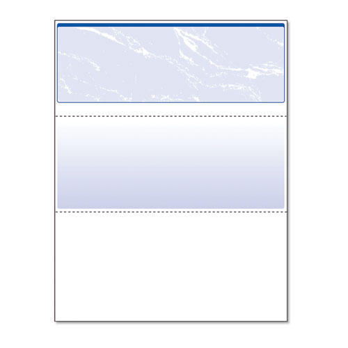 SECURITY BUSINESS CHECKS, 11 FEATURES, 8.5 X 11, BLUE MARBLE TOP, 500/REAM