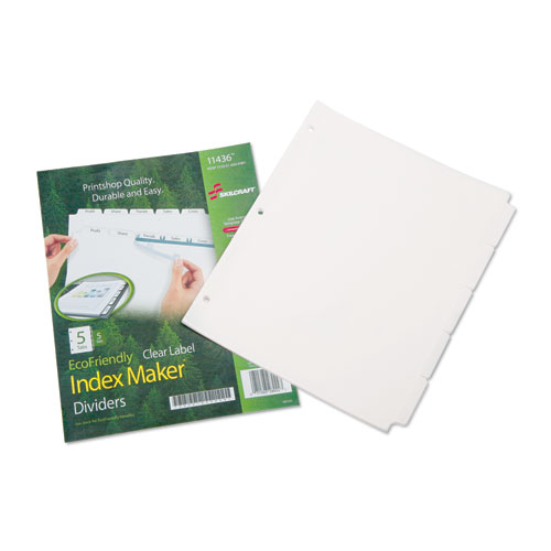 7530016006981 SKILCRAFT AVERY INDEX MAKER DIVIDERS, 5-TAB, 11 X 8.5, WHITE, 5 SETS