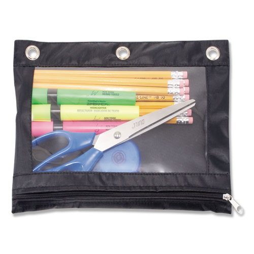 Binder Pencil Pouch, 10 X 7 3/8, Black/clear