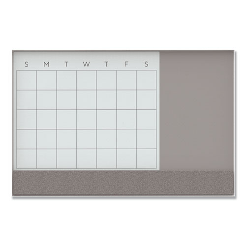 Image for 3N1 MAGNETIC GLASS DRY ERASE COMBO BOARD, 48 X 36, MONTH VIEW, WHITE SURFACE AND FRAME