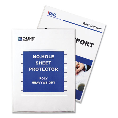 TOP-LOAD NO-HOLE SHEET PROTECTORS, HEAVYWEIGHT, CLEAR, 2