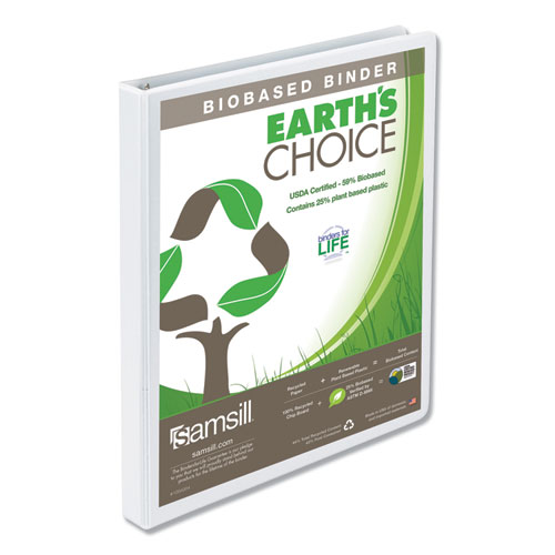 EARTH'S CHOICE BIOBASED ROUND RING VIEW BINDER, 3 RINGS, 0.5