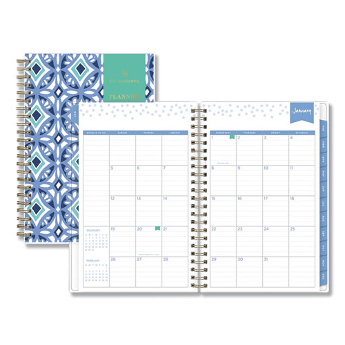 DAY DESIGNER TILE WEEKLY/MONTHLY PLANNER, 8 X 5, BLUE/WHITE COVER, 2021