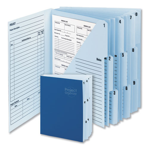 Image for 10-POCKET PROJECT ORGANIZER, 10 SECTIONS, 1/3-CUT TAB, LETTER SIZE, LAKE BLUE/NAVY BLUE