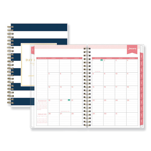 DAY DESIGNER DAILY/MONTHLY PLANNER, 8 X 5, NAVY/WHITE, 2021