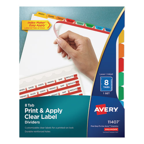 PRINT AND APPLY INDEX MAKER CLEAR LABEL DIVIDERS, 8 COLOR TABS, LETTER