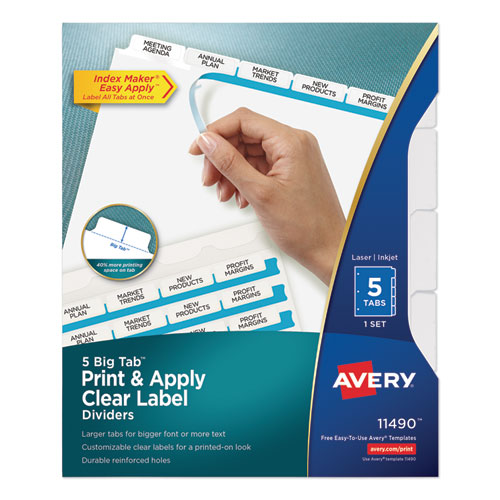 PRINT AND APPLY INDEX MAKER CLEAR LABEL DIVIDERS, 5 WHITE TABS, LETTER
