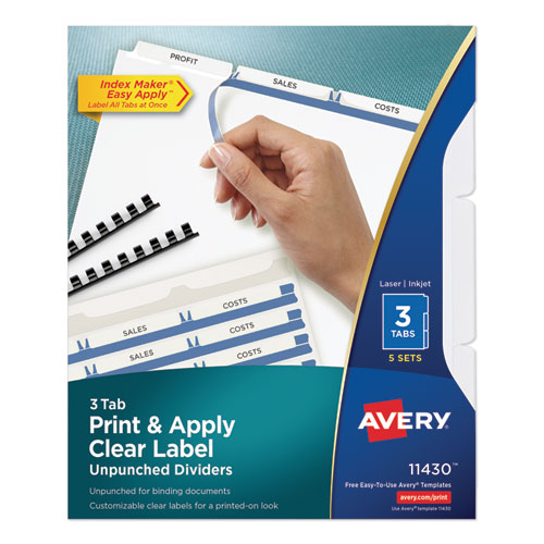 PRINT AND APPLY INDEX MAKER CLEAR LABEL UNPUNCHED DIVIDERS, 3TAB, LETTER, 5 SETS